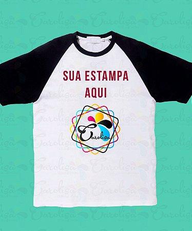 282ea2742 Camiseta Branca e Manga Preta 100% Algodão - Loja Carolisa