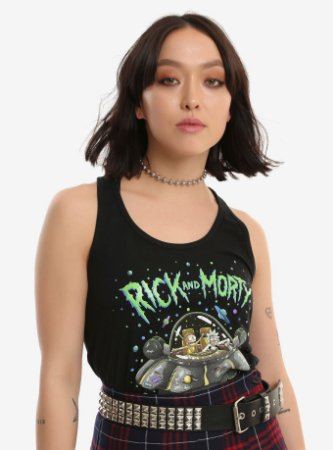 Regata Feminina Preta Rick and Morty