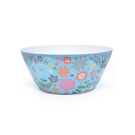 Bowl Florido Em Melamina Azul Rice
