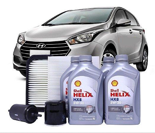 Kit De Filtros Hyundai Hb20 1.6 Flex Com Óleo Shell 5w30