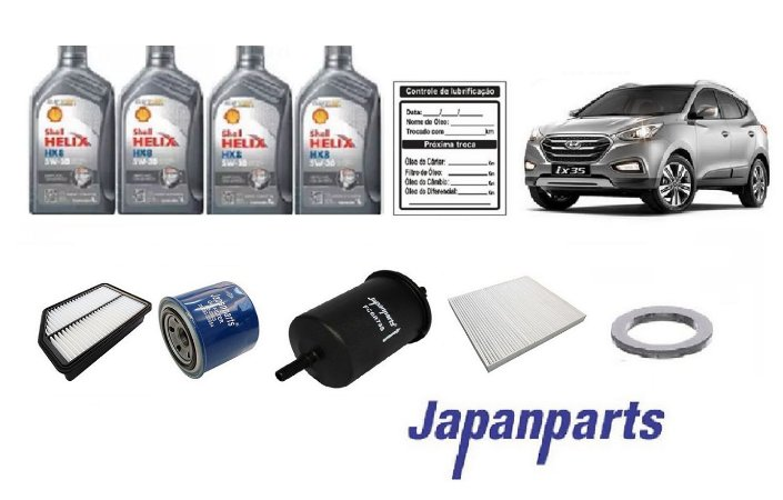 Kit De Filtros Hyundai Ix35 2.0 Flex com Óleo Shell 5W30 Sintético