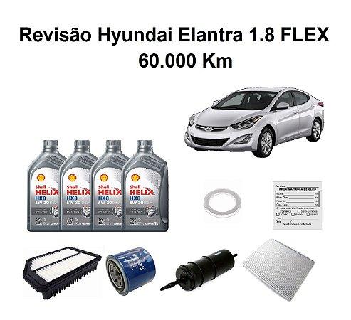 Kit Revisão De Filtros Hyundai Elantra 1.8 Flex 60 Mil Km