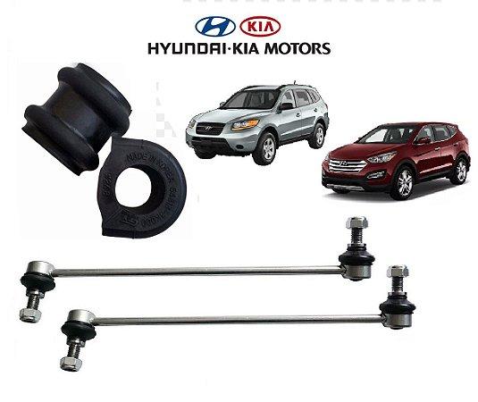 Kit Bieletas Da Suspensão Dianteira Com Buchas Estabilizadora Hyundai Santa Fé 2.7 3.5
