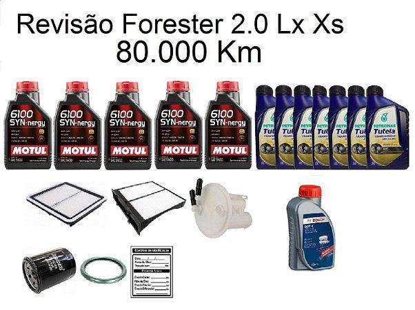 Kit Revisão Subaru Forester 2.0 Lx Xs 80 Mil Km Com Óleo Motul 5W30 Syn-nergy 6100 Sintético
