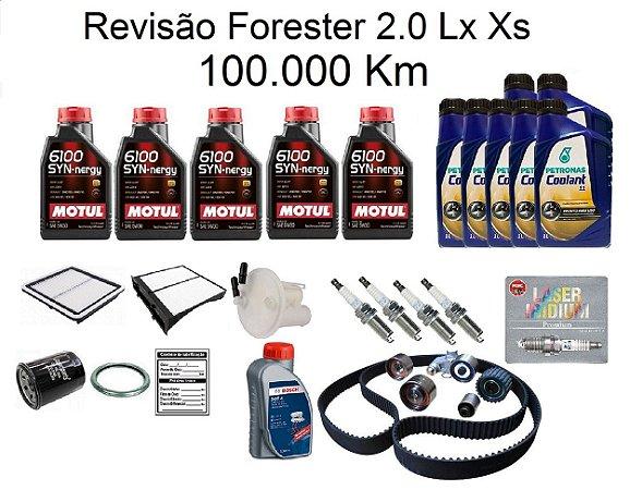 Kit Revisão Subaru Forester 2.0 Lx Xs 100 Mil Km Com Óleo Motul 6100 5W30 Sintético Syn-nergy