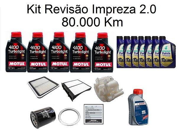 Kit Revisão Subaru Impreza 2.0 160 Cv 80 Mil Km Com Óleo Motul 10W40 Turbolight