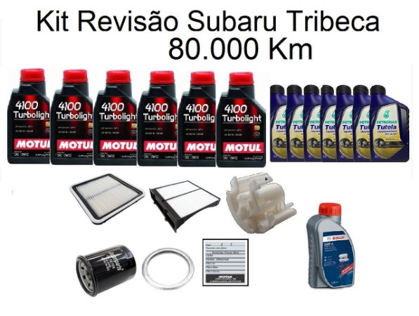 Kit Revisão Subaru Tribeca 80 Mil Km Com Óleo Motul 10W40 Turbolight Semi-Sintético