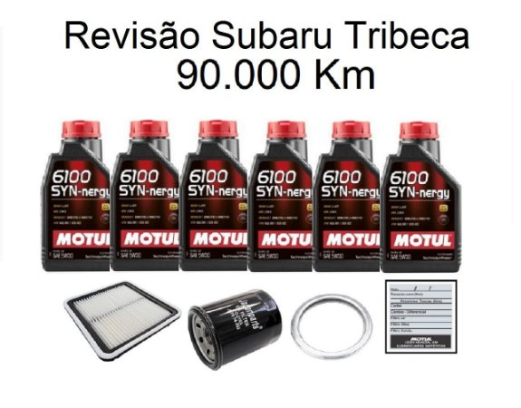 Kit Revisão Subaru Tribeca 90 Mil Km Com Óleo Motul 6100 Syn-nergy 5W30 Sintético