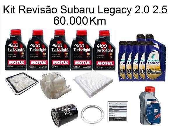 Kit Revisão Subaru Legacy 2.0 2.5 60 Mil Km Com Óleo Motul 4100 Turbolight 10W40 Semi-Sintético