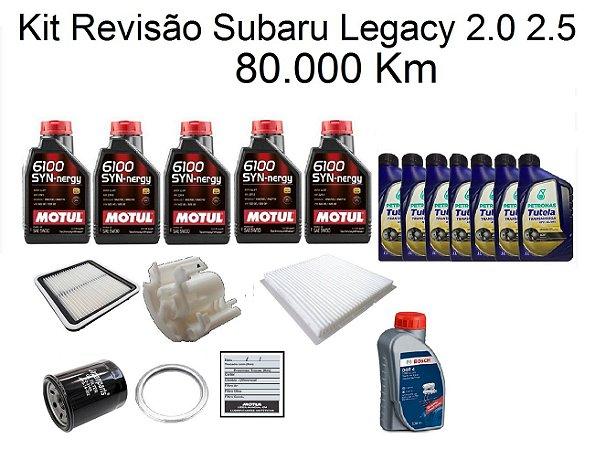Kit Revisão Subaru Legacy 2.0 2.5 80 Mil Km Com Óleo Motul 6100 Syn-negy 5W30 Sintético