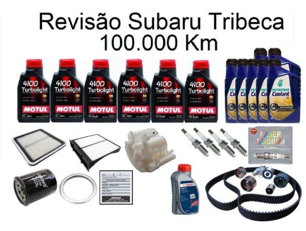 Kit Revisão Subaru Tribeca 100 Mil Km Com Óleo Motul 10W40 Turbolight Semi-Sintético