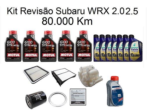 Kit Revisão Subaru Wrx 2.0 2.5 80 Mil Km Com Óleo Motul 6100 Syn-nergy 5W30 Sintético