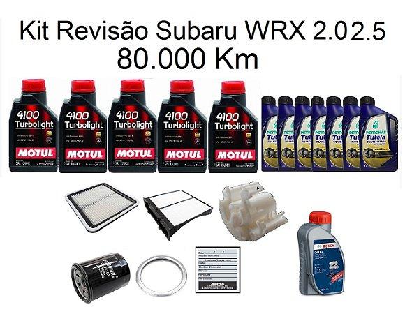 Kit Revisão Subaru Wrx 2.0 2.5 80 Mil Km Com Óleo Motul 4100 Turbolight 10W40 Semi-Sintético