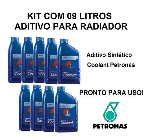 Kit Com 09 Litros Aditivo Radiador Coolant Petronas Pronto Para Uso