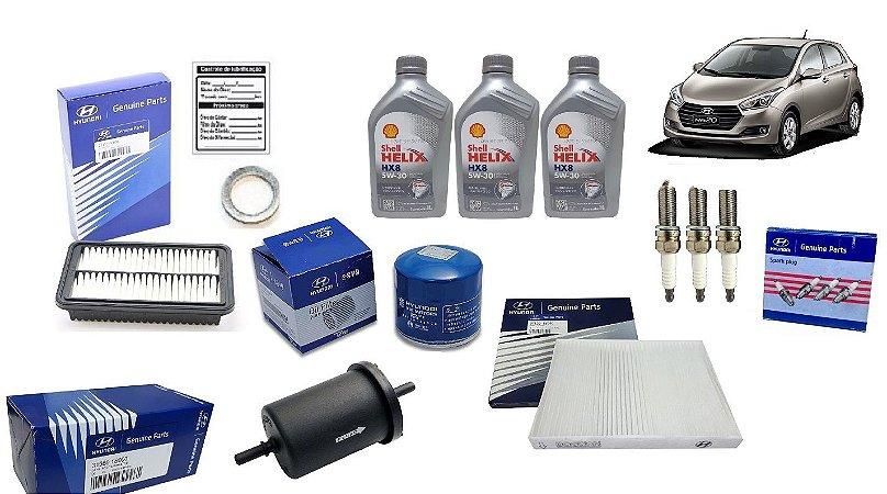 Kit De Filtros Original Hyundai Hb20 1.0 Com Velas e Óleo Shell Helix 5W30 Sintético