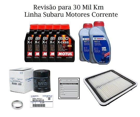 Kit Revisão 30 Mil Km Subaru Impreza XV 2.0 2012 a 2018 Com Óleo Sintético Motul 8100