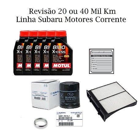Kit Filtros Revisão 20 ou 40 Mil Km Subaru impreza Xv 2.0 Com Óleo Motul 8100 Sintético
