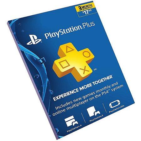 Cartão Pré-Pago Playstation Plus 3 Meses USA