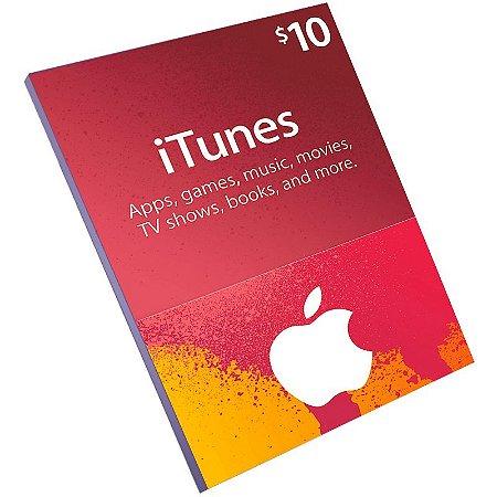 Cartão Pré-Pago Itunes $10 Dólares