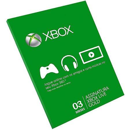 Cartão Pré-Pago Xbox Live 3 Meses