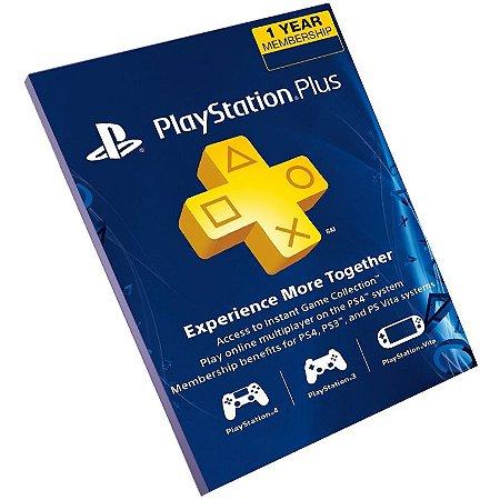 Cartão Pré-Pago Playstation Plus 12 Meses Brasil + 70 Reais