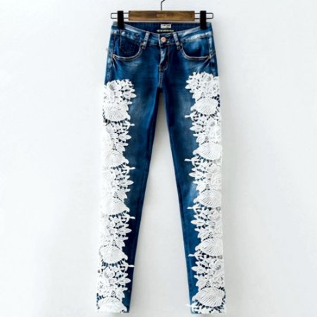 Calça Lace Denim Com Rendas