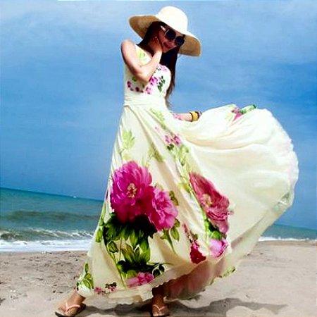 Vestido Longo Flor De Lótus
