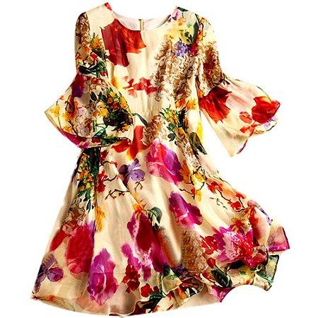 Vestido de Seda Flores Falantes