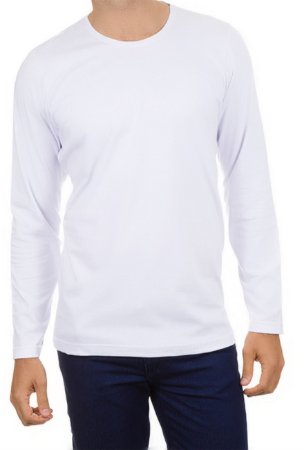 Camiseta Algodão - Manga Longa - Branca