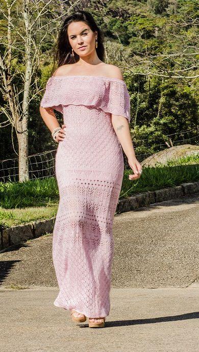 Vestido longo casual rosa