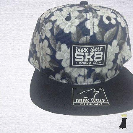 Boné Floral Azul Escuro - Pug Caps - Faça sua Cabeça ! cc9d677c388