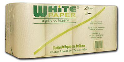 Toalha BOBINA White Paper BRANCO 8X20x100