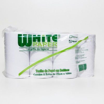 Toalha BOBINA White Paper LUXO 8X20x100