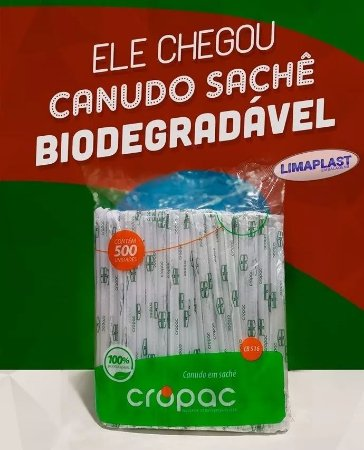 Canudo embalado Biodegradável Milk shake 6mm