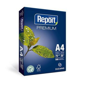 Papel Sulfite Branco A4 Suzano Premium 75g 210x297 PT 500 FL Report