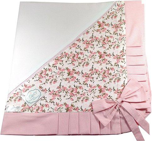 Manta em Piquet com Babado Forrada - Tema Floral Rosa