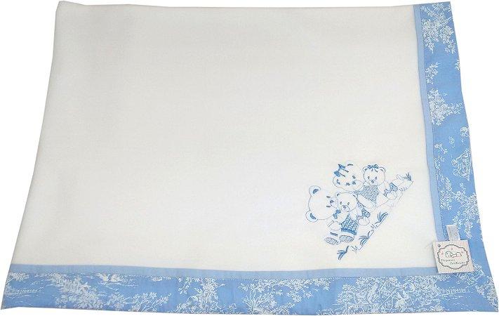 Cobertor Soft com Barrado - Tema Ursinhos