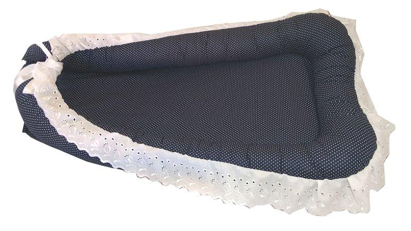 Ninho de Berço para Bebê - Azul Marinho Luxo + Travesseiro