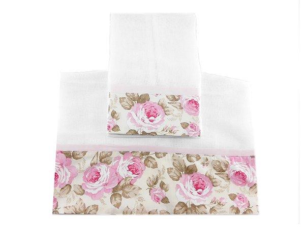 1619cd1f2f Toalha Fralda   Toalha Ombro - Floral - Rosa - Soft Baby Enxoval - O ...