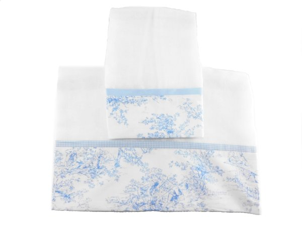 Toalha Fralda & Toalha Ombro - Terra encantada Azul fundo branco