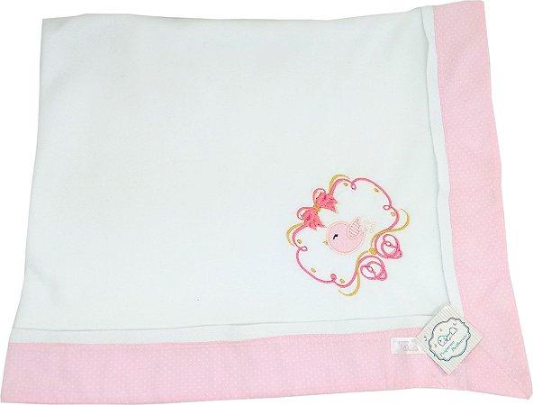Cobertor Soft com Barrado Rosa e Bordado Pássaro