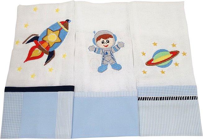 Fralda de Boca com Barrado e Bordado- 3 Peças - Tema Astronauta