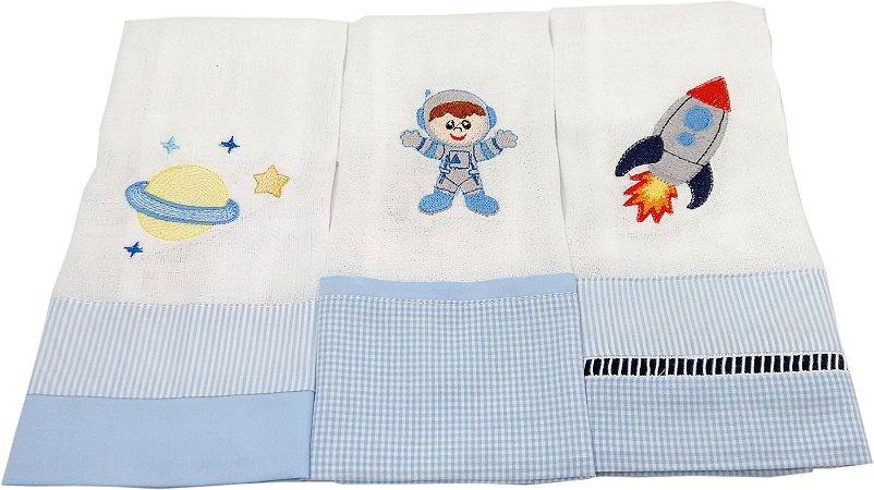 Fralda de Boca com Barrado e Bordado- 3 Peças - Tema Astronauta II