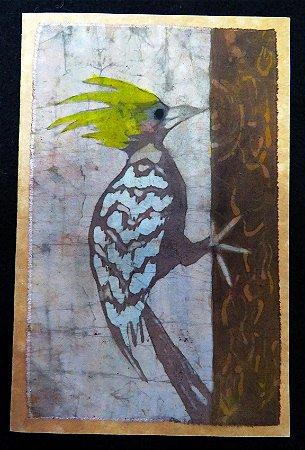 Cartão Artesanal - Pica-pau-de-cabeça-amarela - Batik