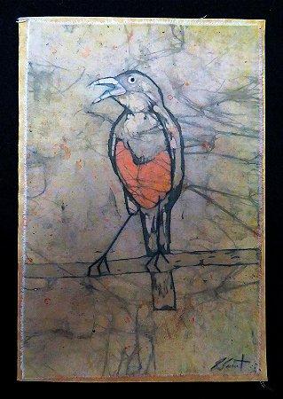 Cartão Artesanal - Sabiá-laranjeira - Batik