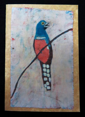 Cartão Artesanal - Surucuá-de-barriga-vermelha - Batik