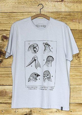 T-Shirt Masculina Aves e Biomas - Cinza