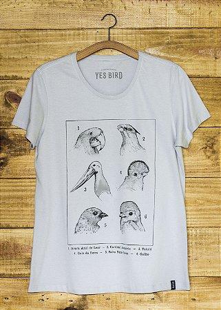 Camiseta Feminina Aves e Biomas - Cinza
