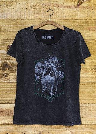 Camiseta Feminina Harpia - Grafite Estonado