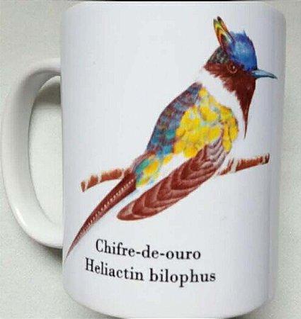 Caneca de Porcelana - Beija-flor Chifre-de-Ouro